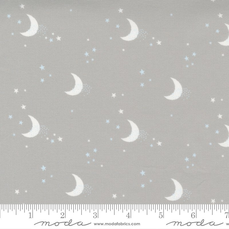 Little Ducklings - Moon Print in Warm Grey by Paper And Cloth for Moda