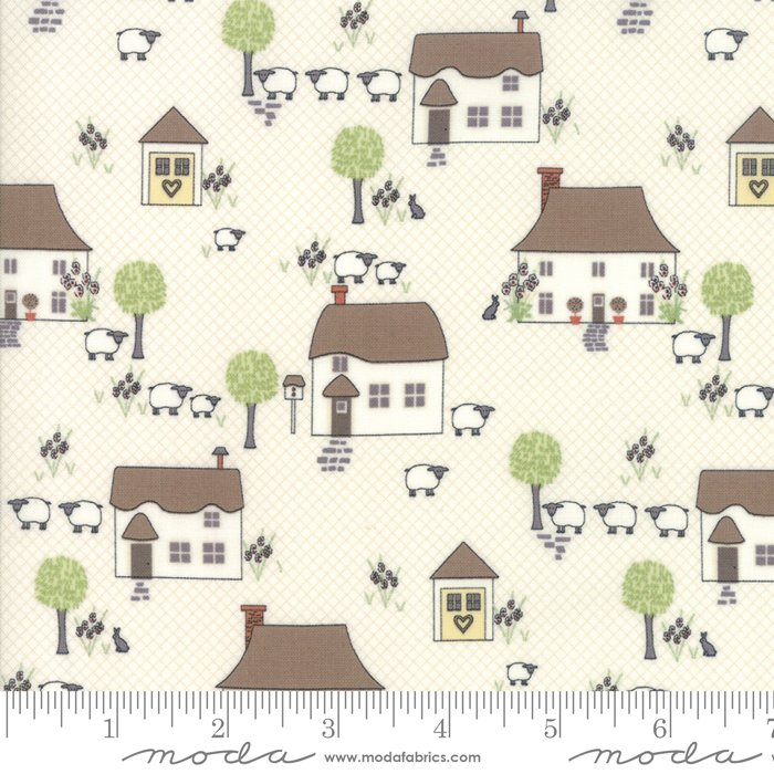 Cottontail Cottage - Novelty Houses in Cottontail White by Bunny Hill Designs for Moda