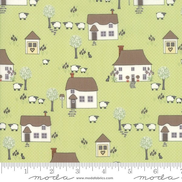 Cottontail Cottage - Novelty Houses in Meadow Green by Bunny Hill Designs for Moda