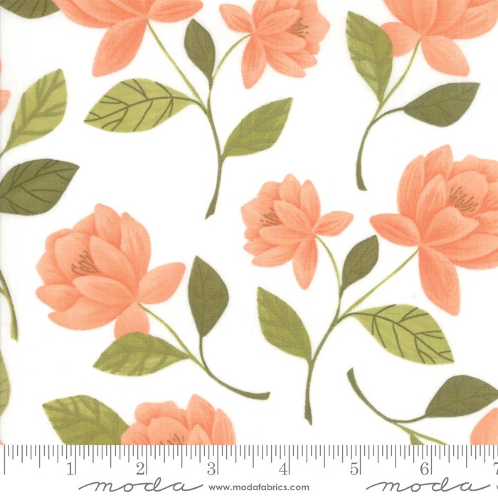 Goldenrod - Raleigh Floral in White by One Canoe Two for Moda