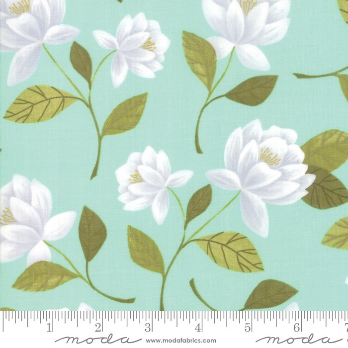 Goldenrod - Raleigh Floral in Aqua by One Canoe Two for Moda