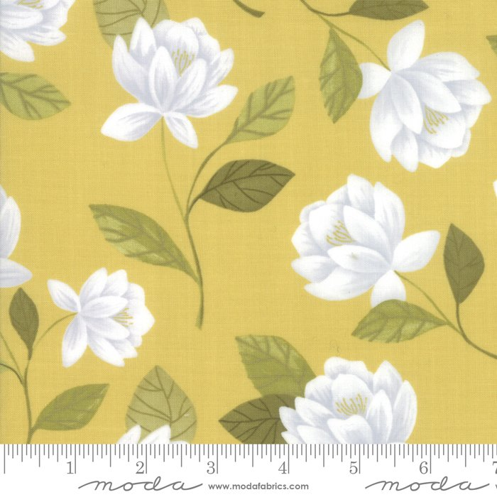 Goldenrod - Raleigh Floral in Gold by One Canoe Two for Moda