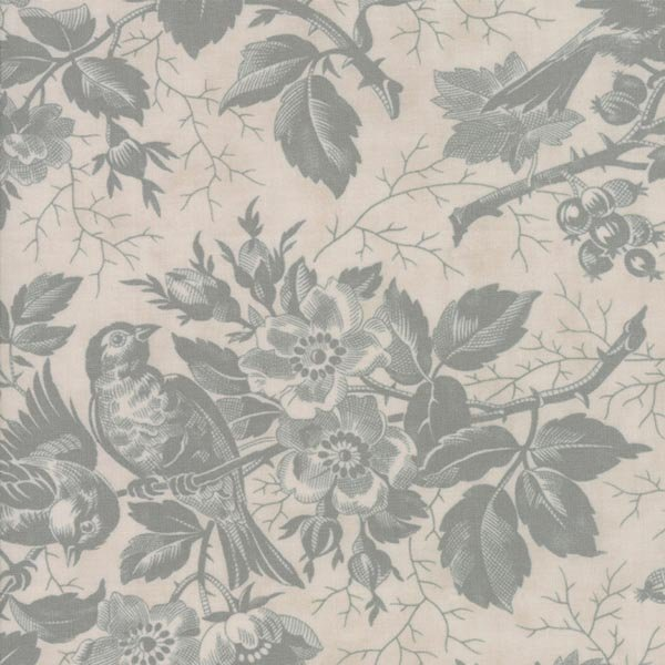 Quill - Bird Toile in Parchment / Mist by 3 Sisters for Moda