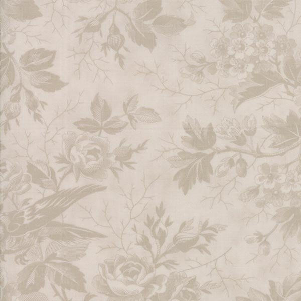 Quill - Bird Toile in Tonal Parchment by 3 Sisters for Moda