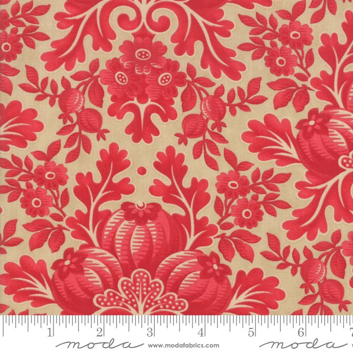 Cinnaberry - Damask in Almond Cranberry by 3 Sisters for Moda