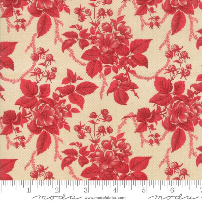 Cinnaberry - Winter Blooms in Cranberry Almond by 3 Sisters for Moda