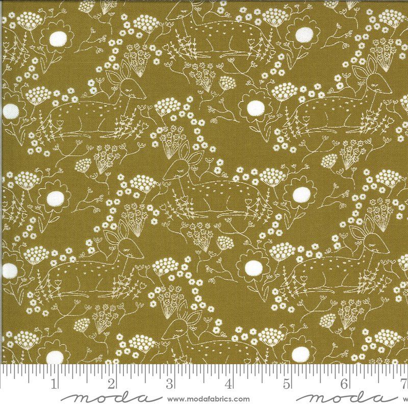 Dwell in Possibility - Meadow Deer in Umber by Gingiber for Moda