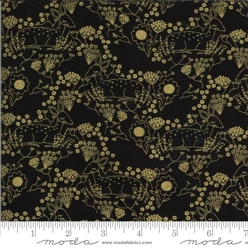 Dwell in Possibility - Meadow Deer in Night with Metallic by Gingiber for Moda