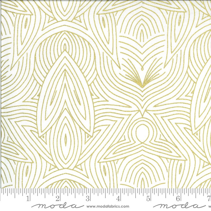 Dwell in Possibility - Nouveau in Ivory with Metallic by Gingiber for Moda