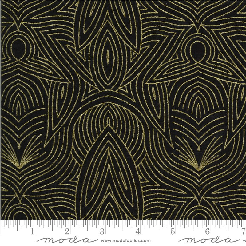 Dwell in Possibility - Nouveau in Night with Metallic by Gingiber for Moda
