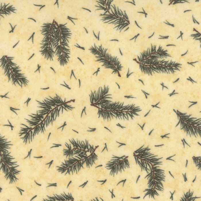 Cardinal Reflection Flannel - Pine Needles on Cream by Holly Taylor for Moda