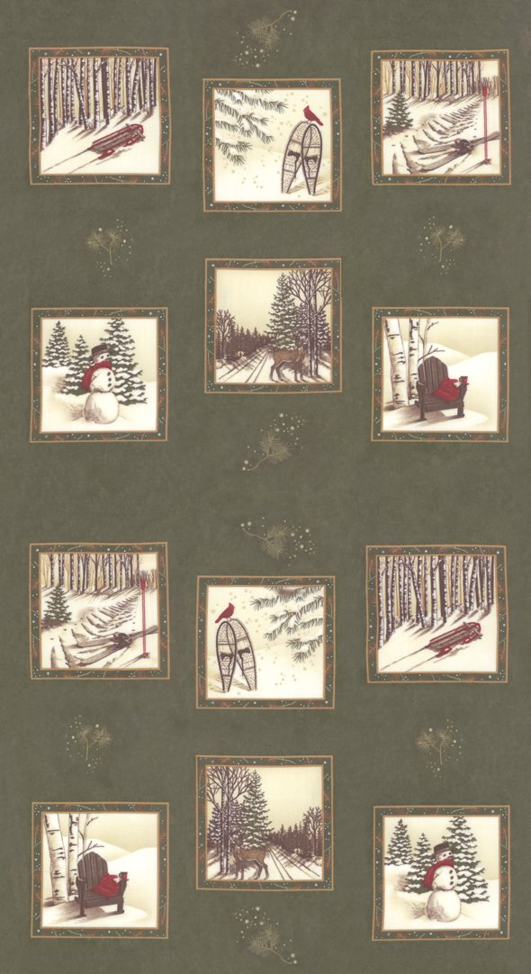 Panel - Frosted Flannels in Cypress (25 x 44) by Holly Taylor for Moda
