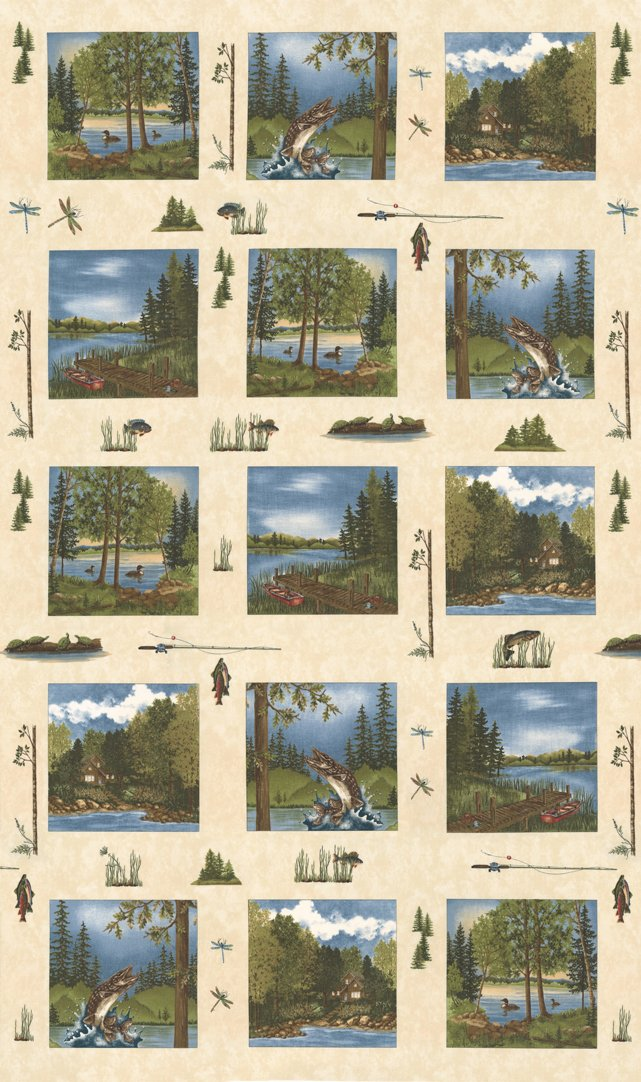 Panel - Lake Views in Ecru (24 x 42) by Holly Taylor for Moda