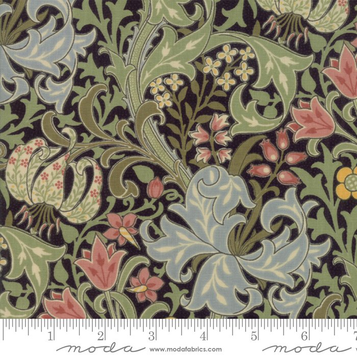 Morris Garden - Golden Lily 1897 in Ebony by V and A Reproduction for Moda