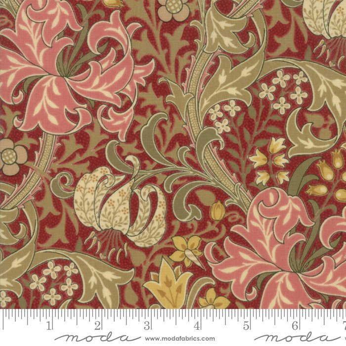 Morris Garden - Golden Lily 1897 in Crimson by V and A Reproduction for Moda