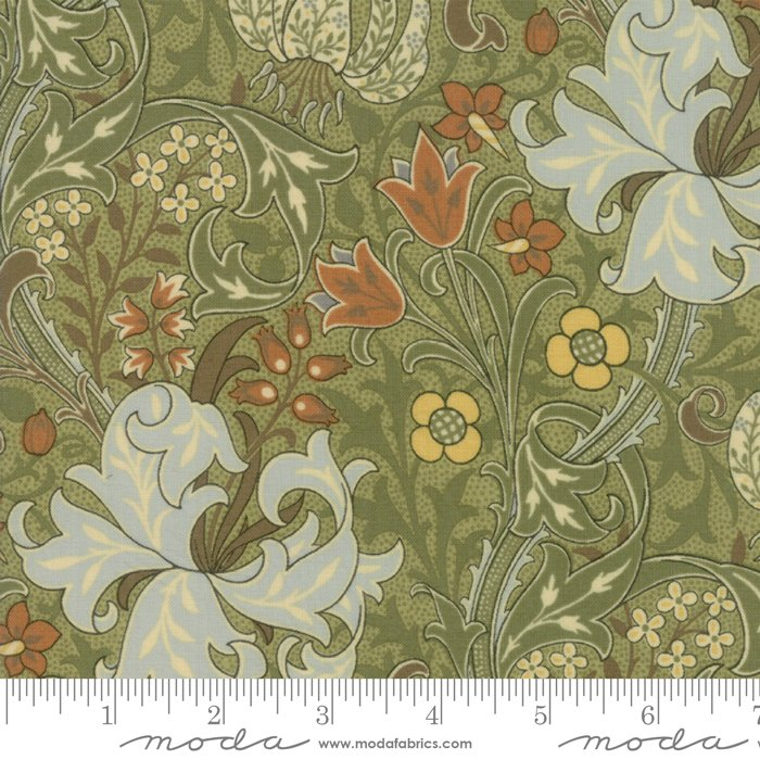 Morris Garden - Golden Lily 1897 in Sage by V and A Reproduction for Moda