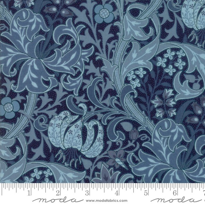 Morris Garden - Golden Lily 1897 in Indigo by V and A Reproduction for Moda