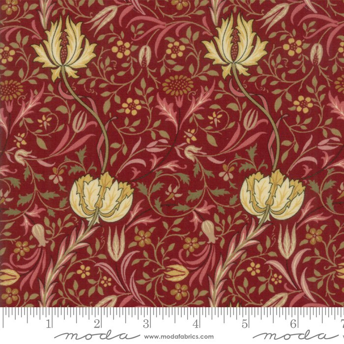 Morris Garden - Flora 1891 in Crimson by V and A Reproduction for Moda
