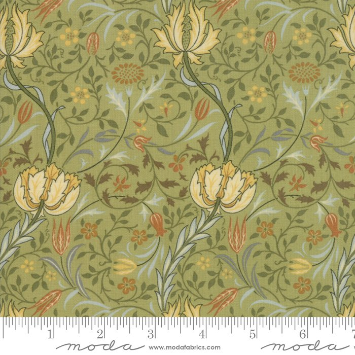 Morris Garden - Flora 1891 in Sage by V and A Reproduction for Moda