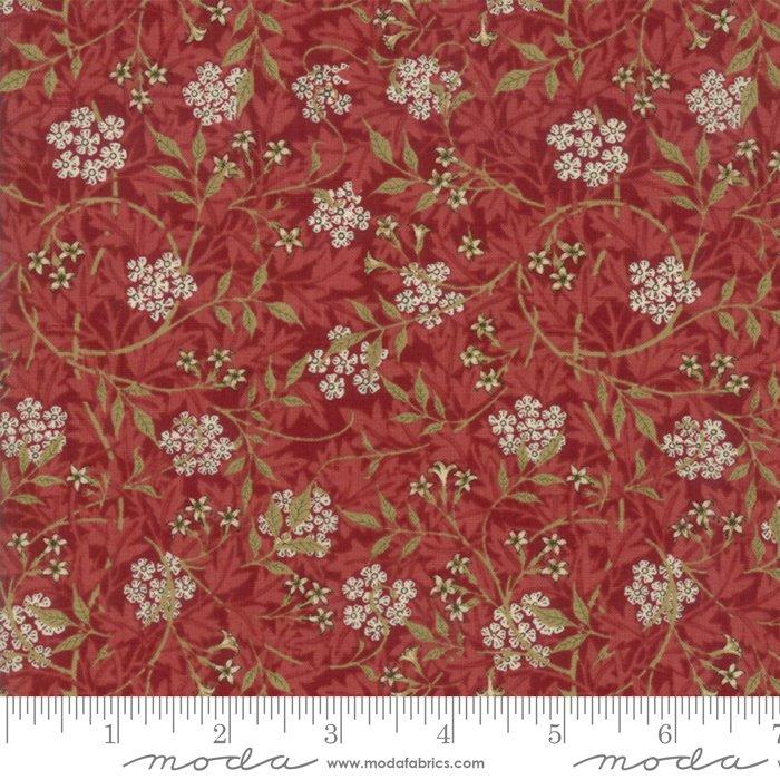 Morris Garden - Jasmine 1872 in Crimson by V and A Reproduction for Moda