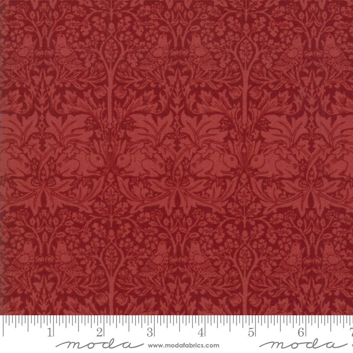 Morris Garden - Brother Rabbit 1882 in Crimson by V and A Reproduction for Moda