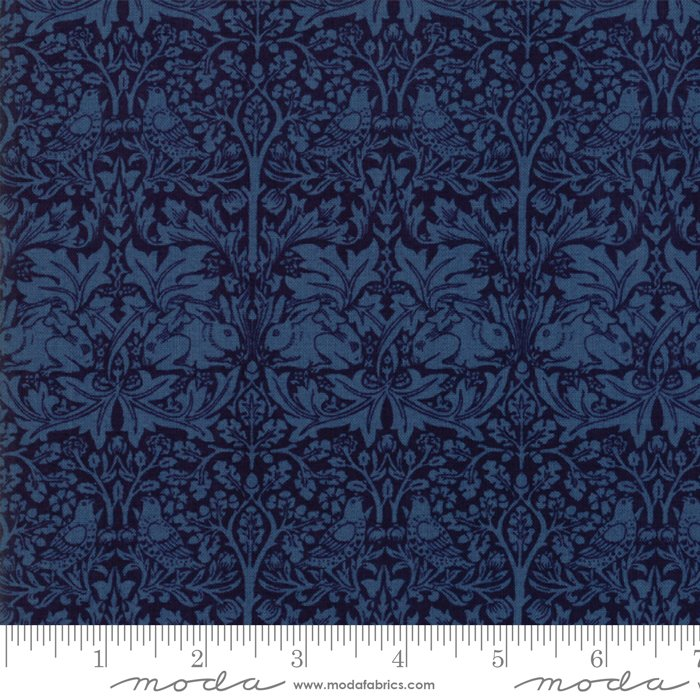 Morris Garden - Brother Rabbit 1882 in Indigo by V and A Reproduction for Moda