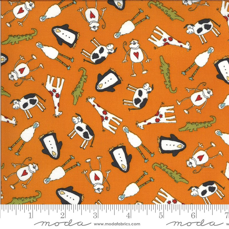 Animal Crackers - Animals on Tangerine by Sweetwater for Moda