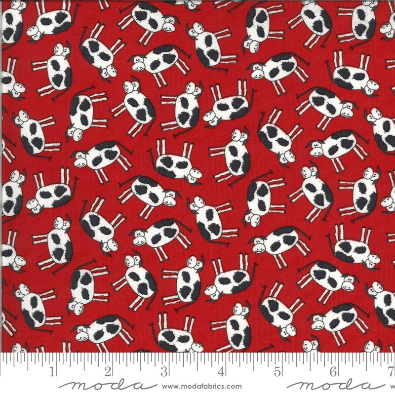 Animal Crackers - Cows on Apple Red by Sweetwater for Moda