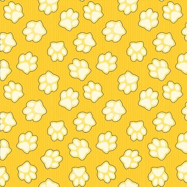 Dogs & Suds - Paw Prints in Yellow by Shelly Comiskey for Henry Glass