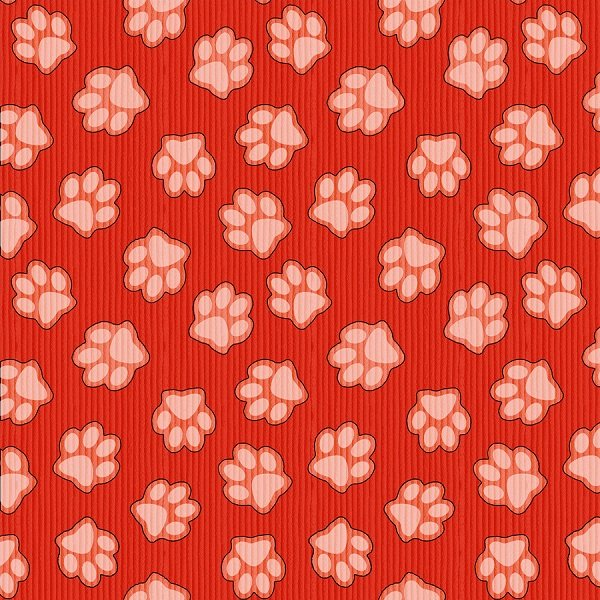 Dogs & Suds - Paw Prints in Red by Shelly Comiskey for Henry Glass