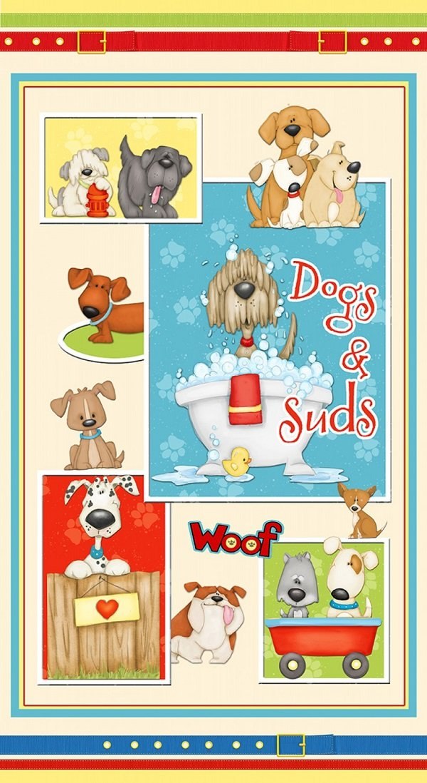 Panel - Dogs & Suds (24 x 42) by Shelly Comiskey for Henry Glass