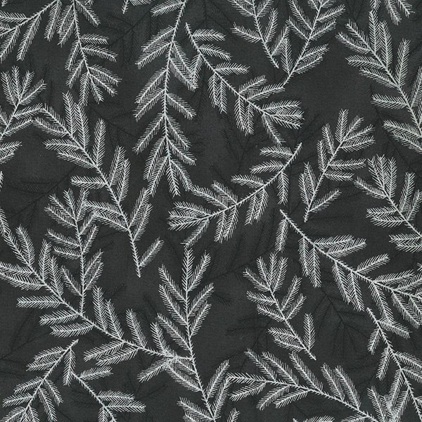 A Cardinal Christmas - Pine Boughs on Black with Silver by Hoffman