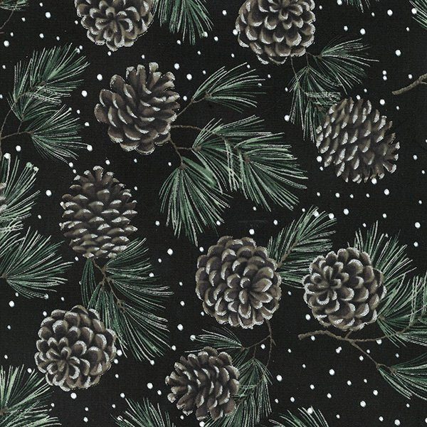 A Cardinal Christmas - Pine Cones on Black with Silver by Hoffman