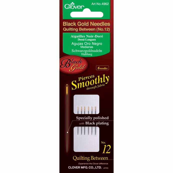 Needles - Black Gold Between / Quilting Needles Size 12 (6 Count) by Clover