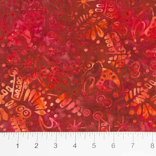 Nostalgic Vibes Batiks - Pattern in Red by Banyan Batiks for Northcott
