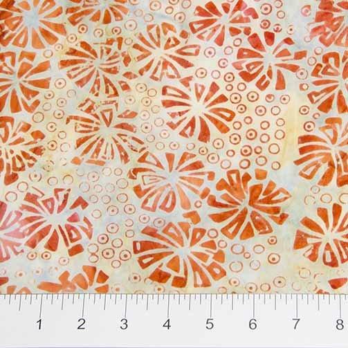 Visual Sound Batiks - Flowers in Orange by Banyan Batiks for Northcott