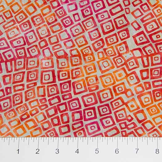 Visual Sound Batiks - Packed Squares in Red / Orange by Banyan Batiks for Northcott