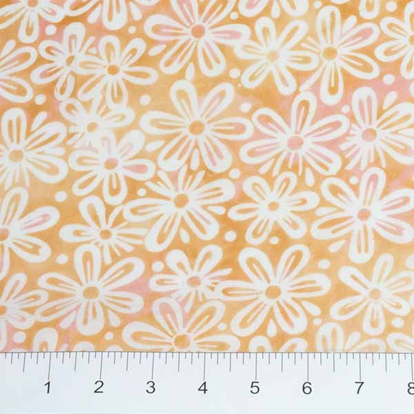 Feathers Batiks - Flowers in Peach by Banyan Batiks for Northcott