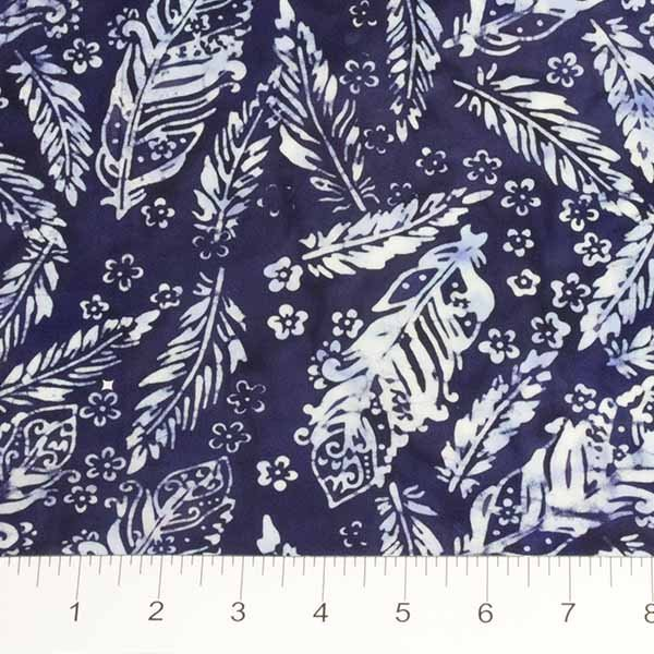 Feathers Batiks - Feathers and Flowers in French Blue by Banyan Batiks for Northcott