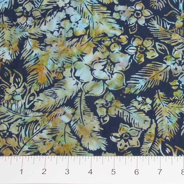 Feathers Batiks - Flowers and Feathers in Mandarin Teal by Banyan Batiks for Northcott