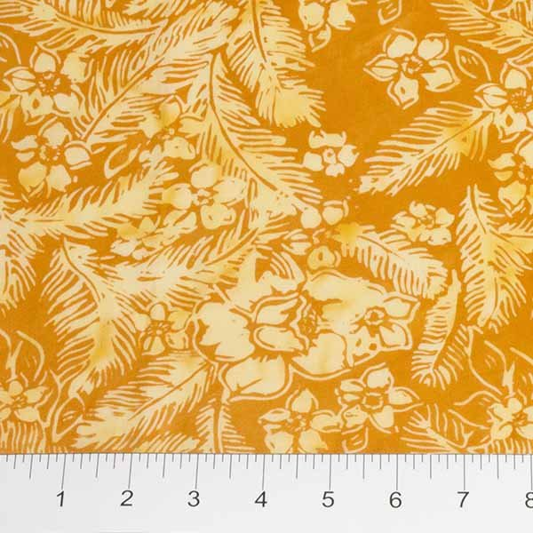 Feathers Batiks - Flowers and Feathers in Mandarin by Banyan Batiks for Northcott