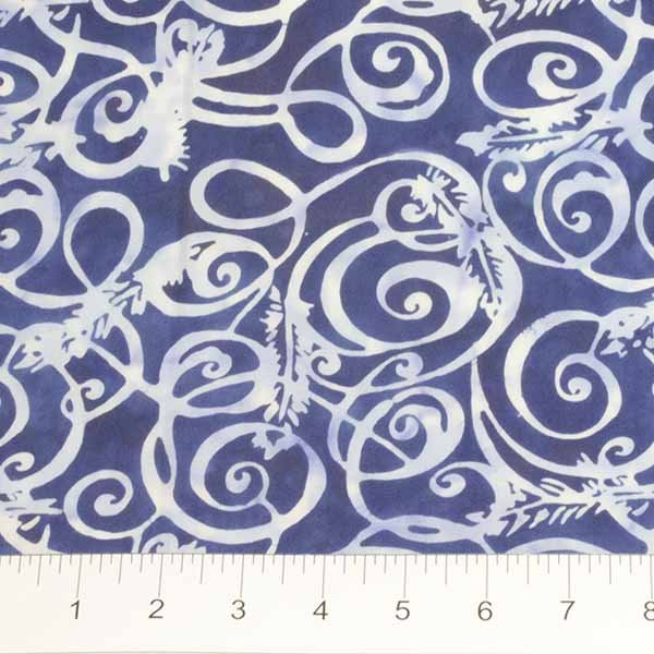 Feathers Batiks - Swirl in French Blue by Banyan Batiks for Northcott