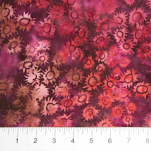 Primitive Lines Batiks - Jagged Flower in Red by Banyan Batiks for Northcott