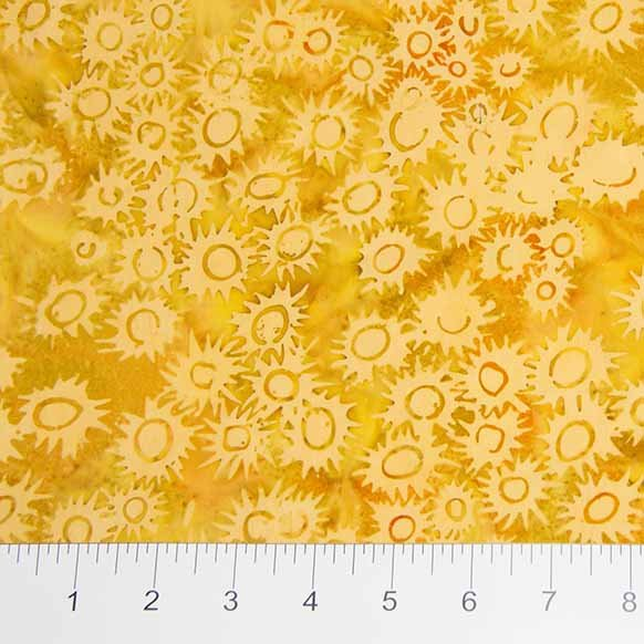 Primitive Lines Batiks - Jagged Flower in Tonal Yellow by Banyan Batiks for Northcott