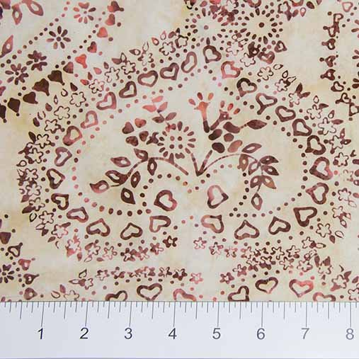 Primitive Lines Batiks - Floral Heart in Red by Banyan Batiks for Northcott