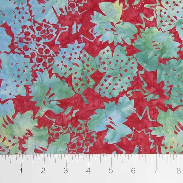 Sophie Batiks - Floral in Green / Red by Banyan Batiks for Northcott