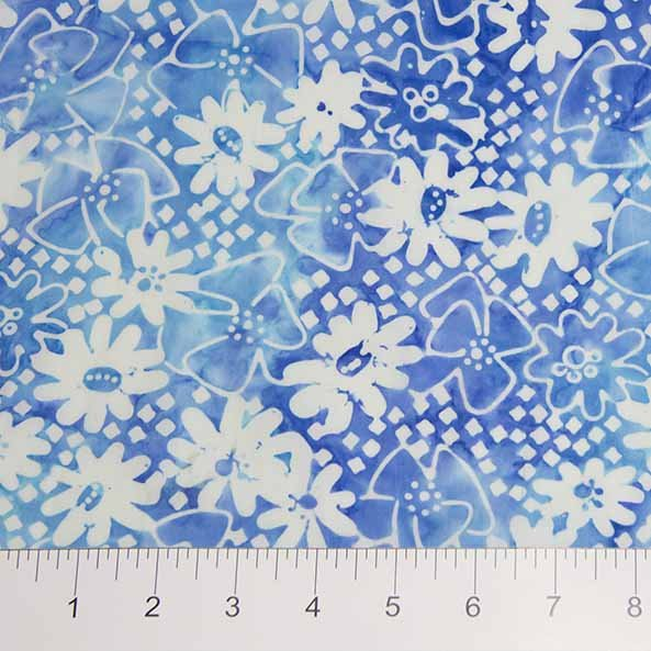Sophie Batiks - Daisies in Blue by Banyan Batiks for Northcott