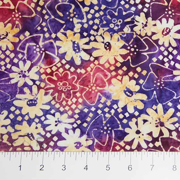 Sophie Batiks - Daisies in Purple by Banyan Batiks for Northcott