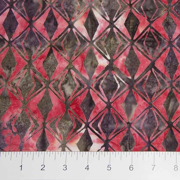Sophie Batiks - Diamond Pattern in Red by Banyan Batiks for Northcott