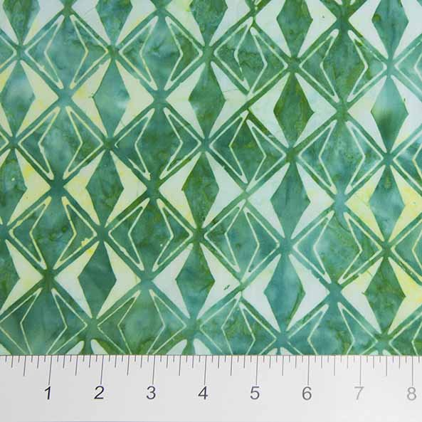 Sophie Batiks - Diamond Pattern in Green by Banyan Batiks for Northcott